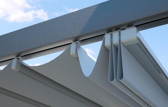 P rgola de aluminio entre dos paredes for Estructura de aluminio para toldo